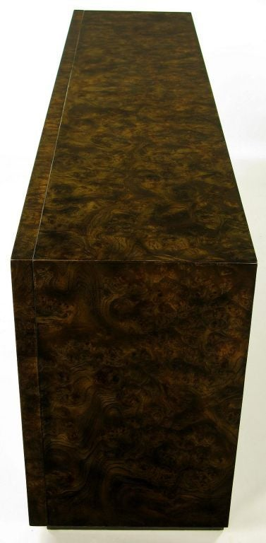 Late 20th Century Mastercraft Burl and Acid Etched Brass Dresser For Sale