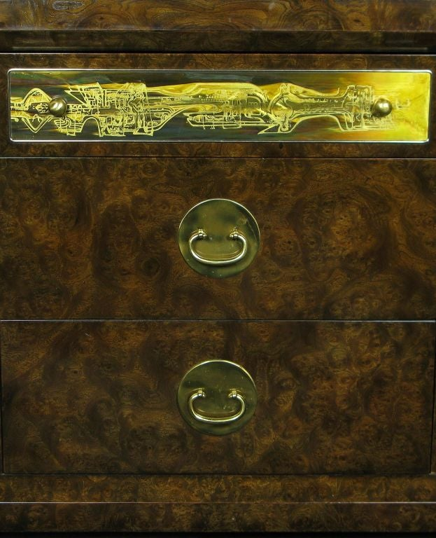 Mastercraft Burl and Acid Etched Brass Dresser For Sale 3