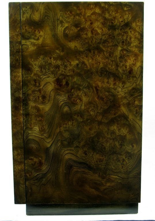 Mastercraft Burl and Acid Etched Brass Dresser For Sale 5