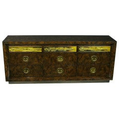 Mastercraft Burl and Acid Etched Brass Dresser