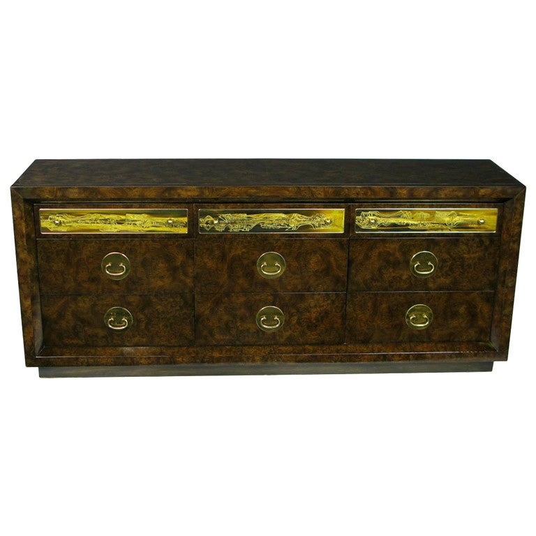 Mastercraft Burl and Acid Etched Brass Dresser For Sale