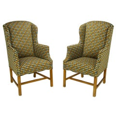 Pair 1940s Wing Chairs In A Colorful & Overscaled Houndstooth