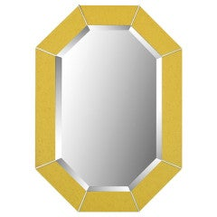 Karl Springer Octagonal Chrome & Marbelized Lacquer Mirror