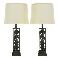 Pair Black Lacquered Metal Open Body Grape Vine Table Lamps