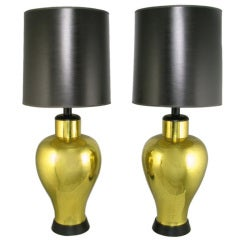 Pair Grand Scale Urn-Form Brass Table Lamps