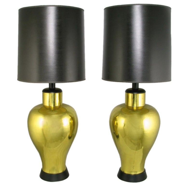 Pair of Grand Scale Urn-Form Brass Table Lamps For Sale