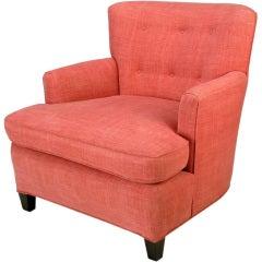 1940s Raspberry Linen Dunbar Style Club Chair