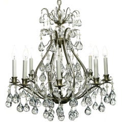 Brushed Nickel & Raindrop Bubble Crystals Eight-Arm Chandelier