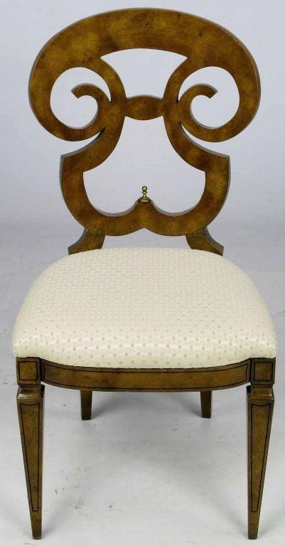 Brass Six William Doezema Biedermeier Dining Chairs for Mastercraft