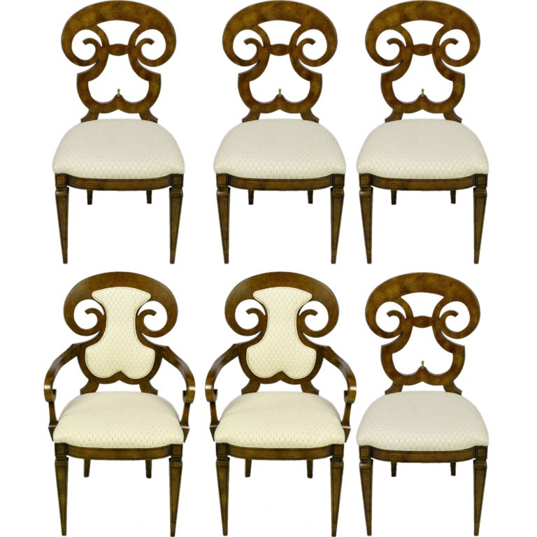 Six William Doezema Biedermeier Dining Chairs for Mastercraft