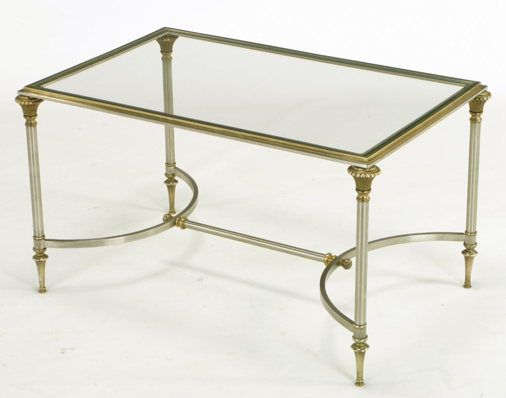 Pair Petite Italian Brass And Brushed Nickel Coffee Tables At 1stdibs