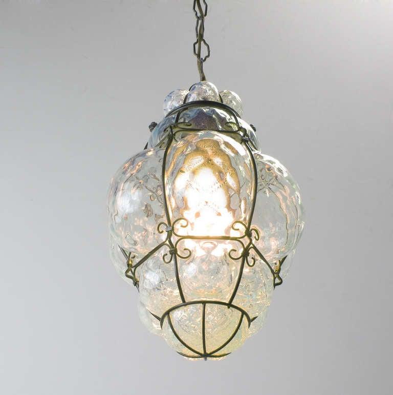 softest blue murano caged glass pendant light at 1stdibs