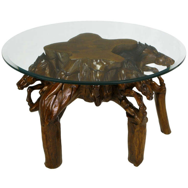 Incredible Equine Carved Wood Coffee Table 1