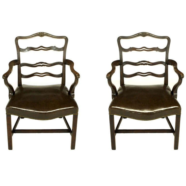 Pair of Early 1900s George III Style Ribbon Back Armchairs For Sale