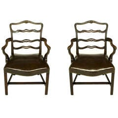 Pair of Early 1900s George III Style Ribbon Back Armchairs
