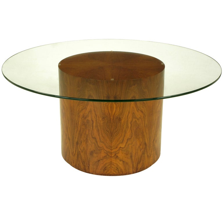 Highly Figured Walnut Pedestal Coffee Table For Sale