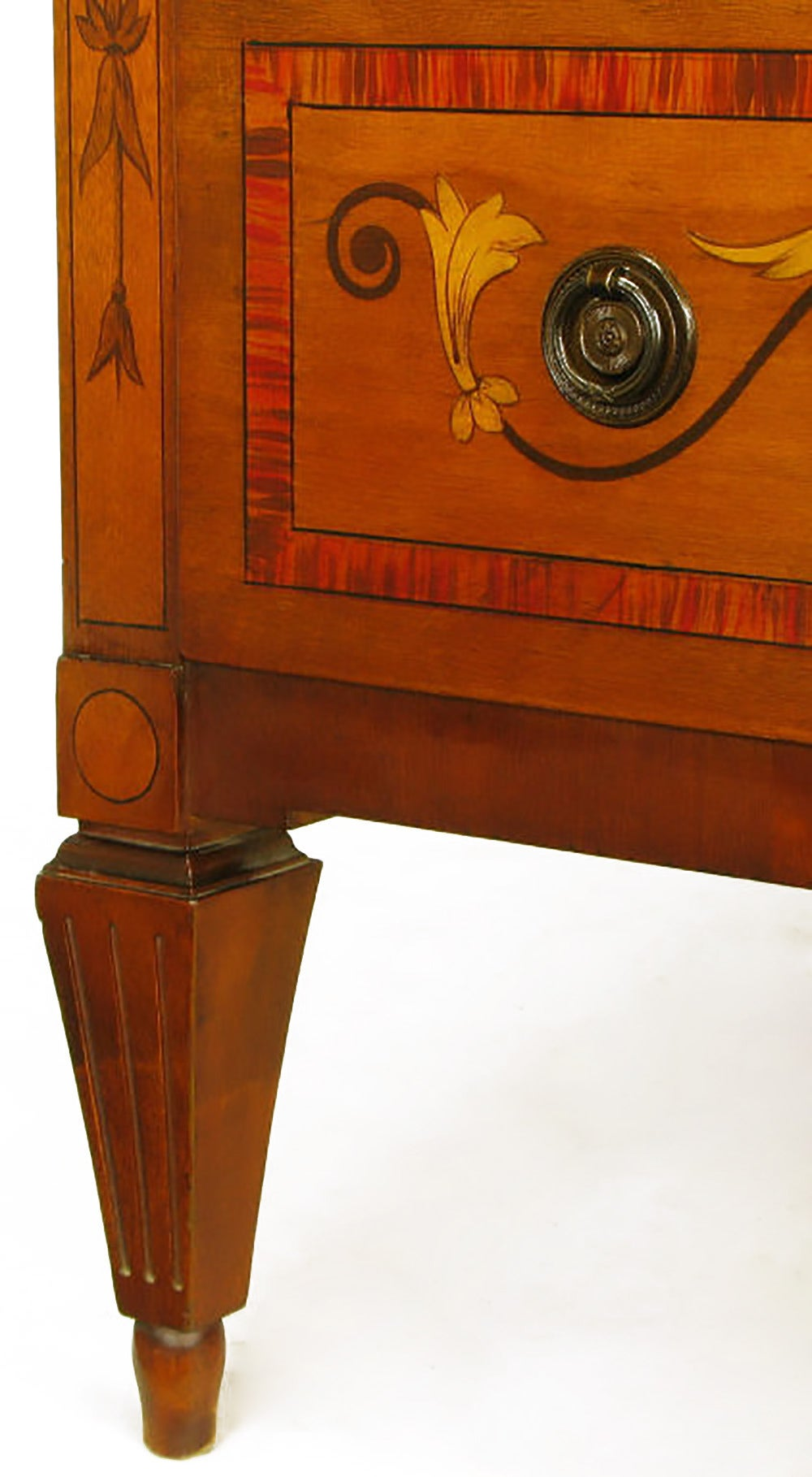 Mahogany Tall Chest with Trompe L'oeil Neoclassical Marquetry For Sale 4