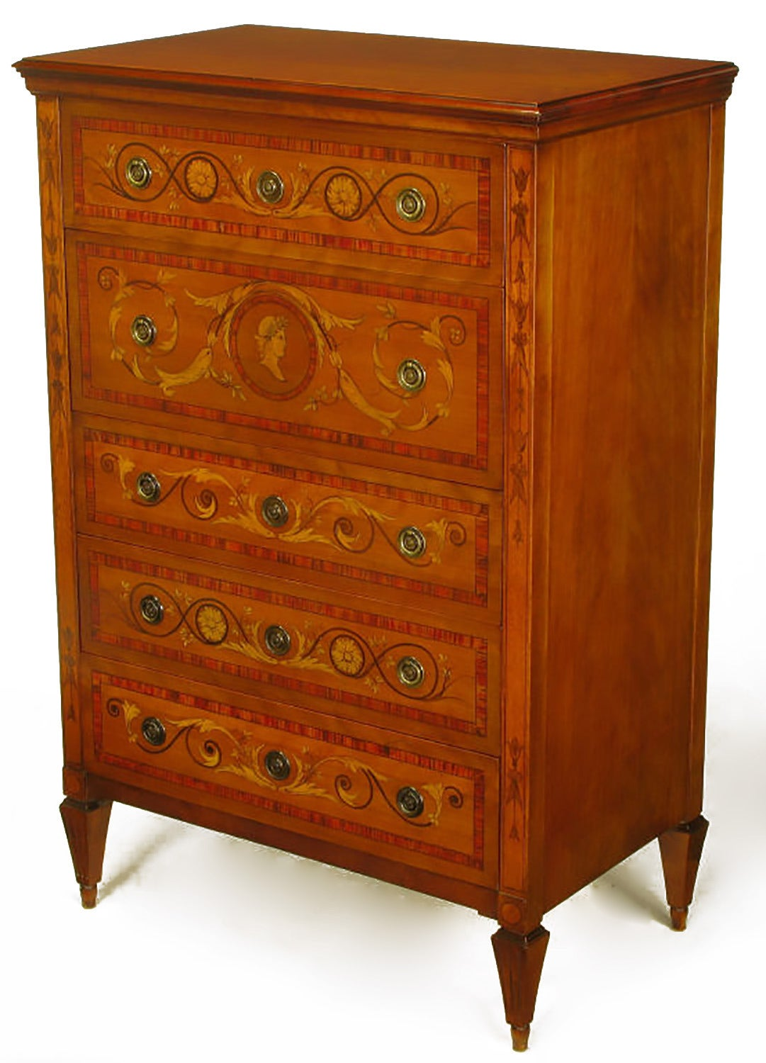 Well executed example of the hand painted furniture in the early part of the 20th century. Made to appear as northern Italian style marquetry pieces from the 19th century. Very realistic appearing ribbon mahogany border to each drawer front and even