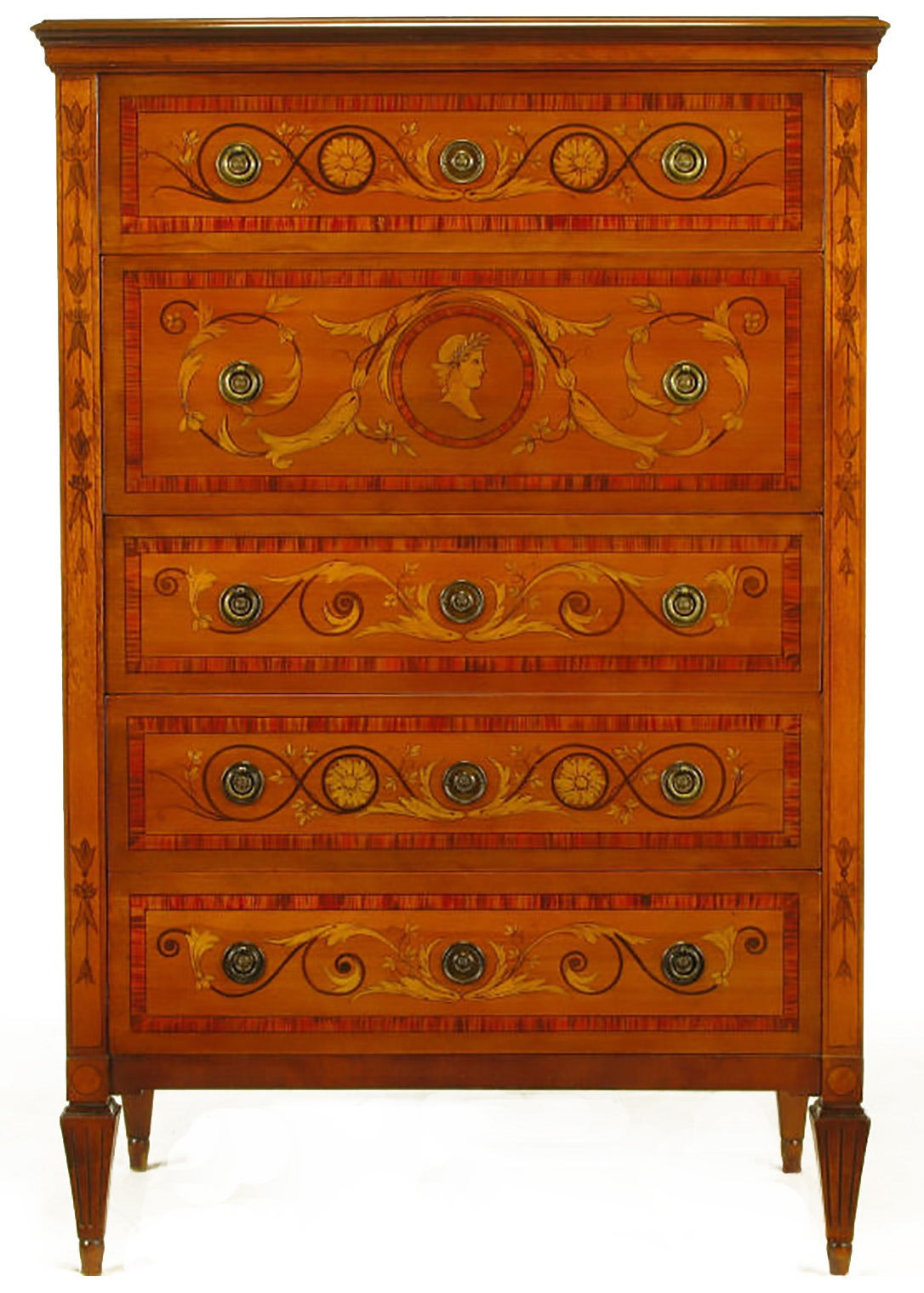 American Mahogany Tall Chest with Trompe L'oeil Neoclassical Marquetry For Sale
