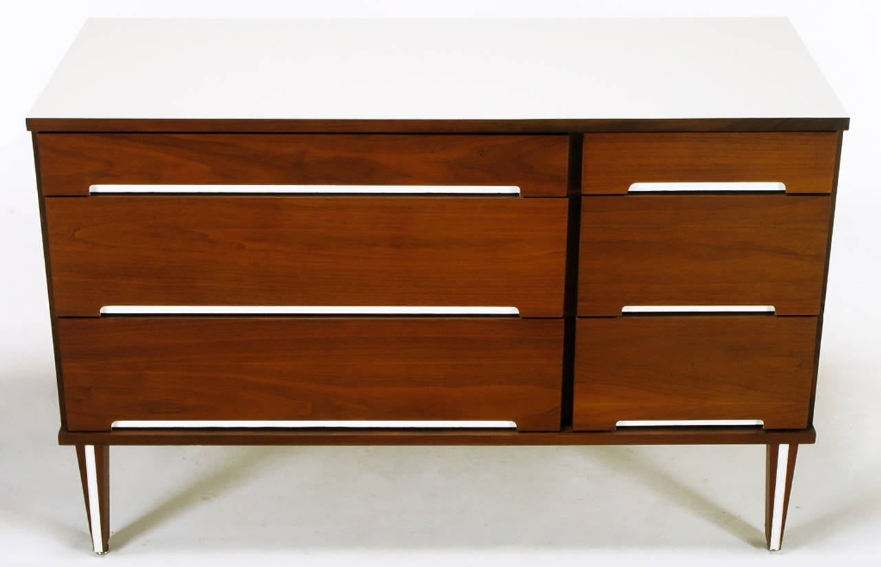 American Walnut and White Micarta Six-Drawer Dresser For Sale