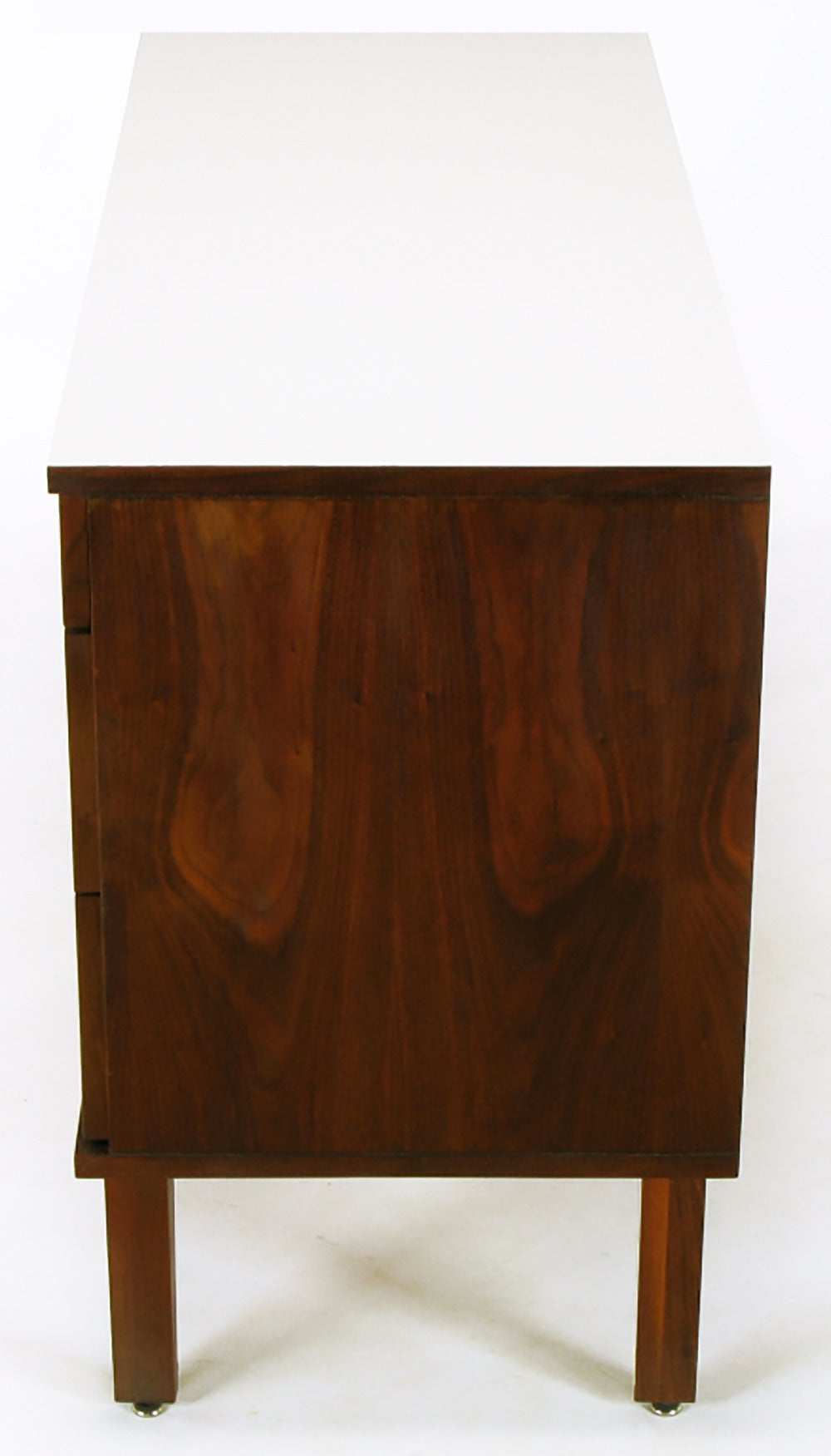 Mid-20th Century Walnut and White Micarta Six-Drawer Dresser For Sale