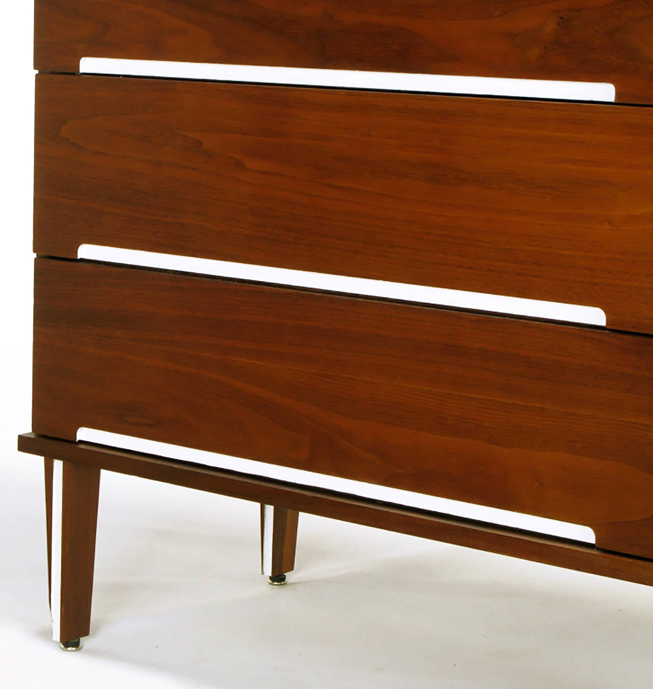 Lacquer Walnut and White Micarta Six-Drawer Dresser For Sale