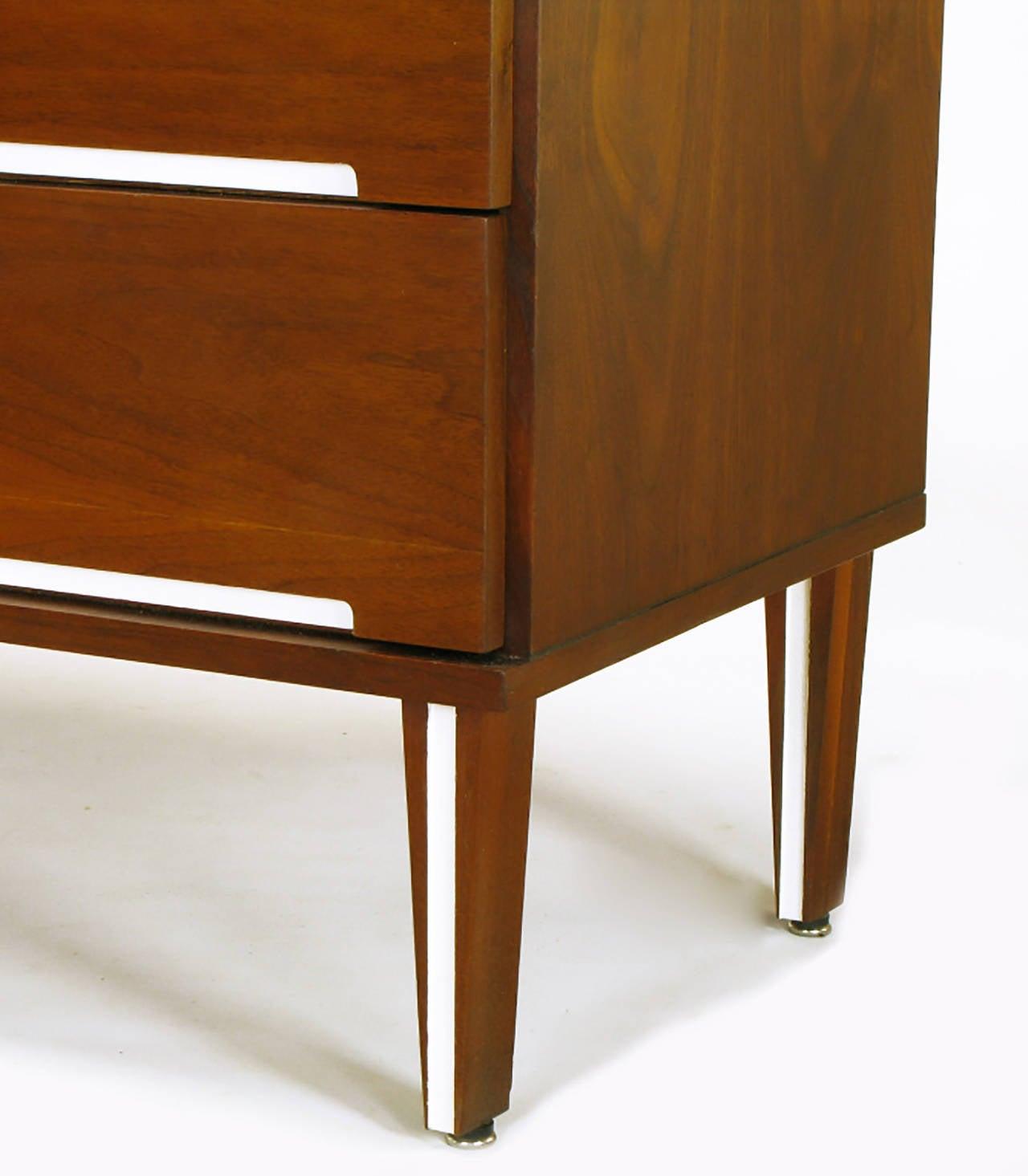 Walnut and White Micarta Six-Drawer Dresser For Sale 1