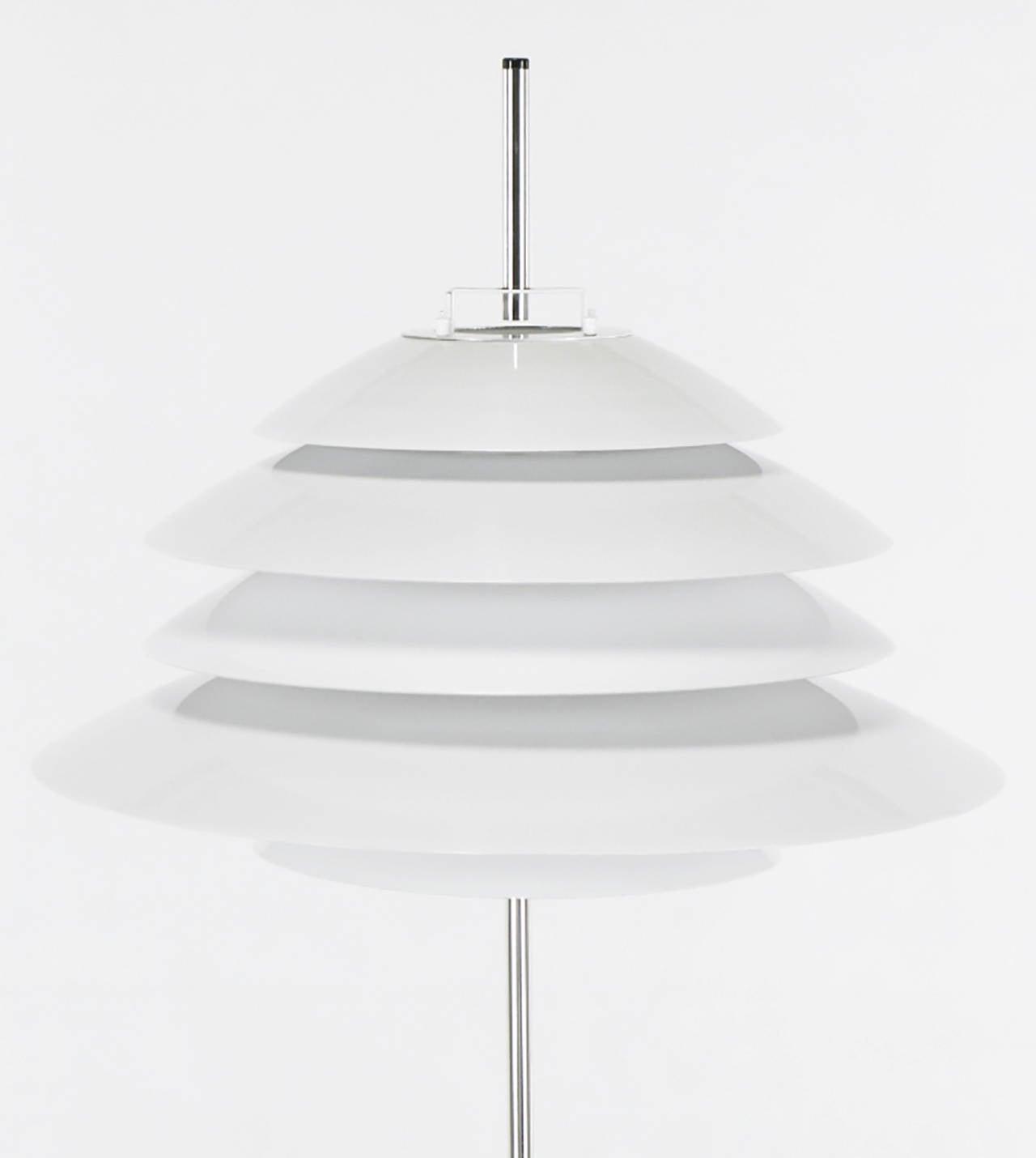 American Sonneman Chrome and White Enamel Floor Lamp For Sale