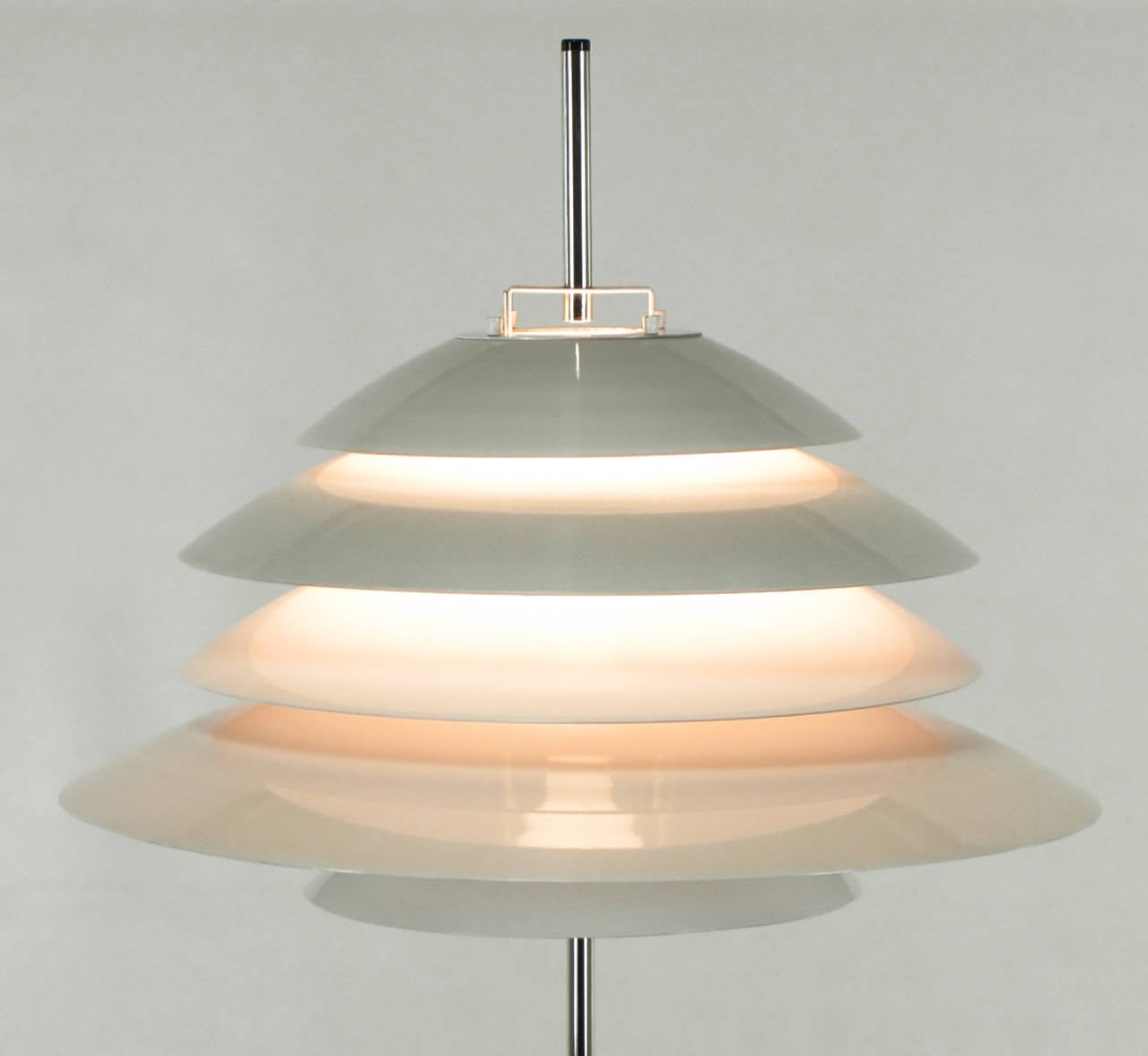 Sonneman Chrome and White Enamel Floor Lamp In Good Condition For Sale In Chicago, IL