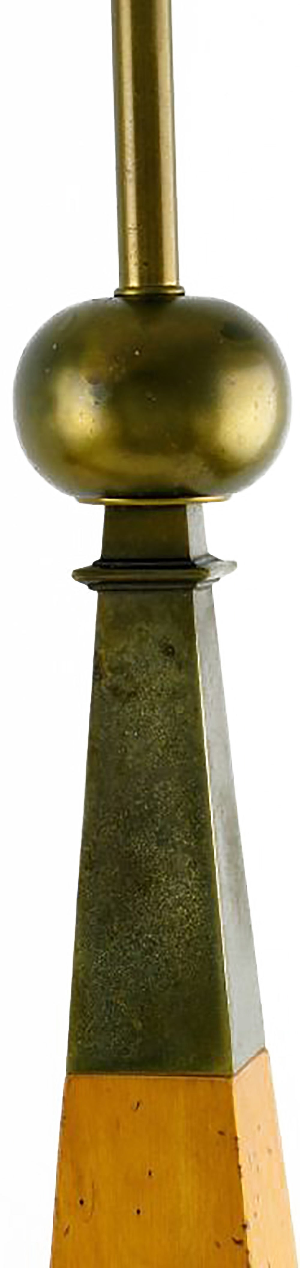 American Elegant Pair of Stiffel Walnut and Brass Obelisk Table Lamps For Sale