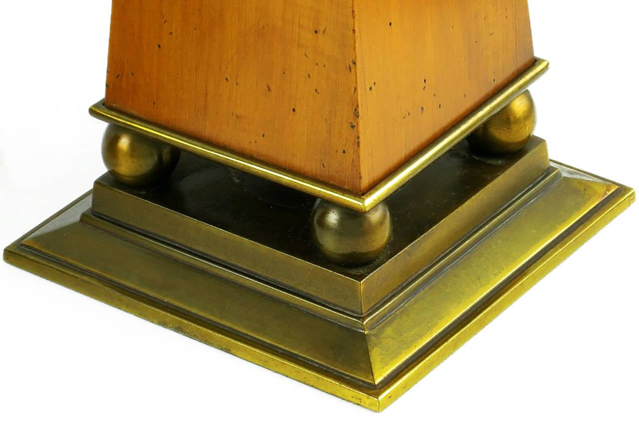 Elegant Pair of Stiffel Walnut and Brass Obelisk Table Lamps In Excellent Condition For Sale In Chicago, IL
