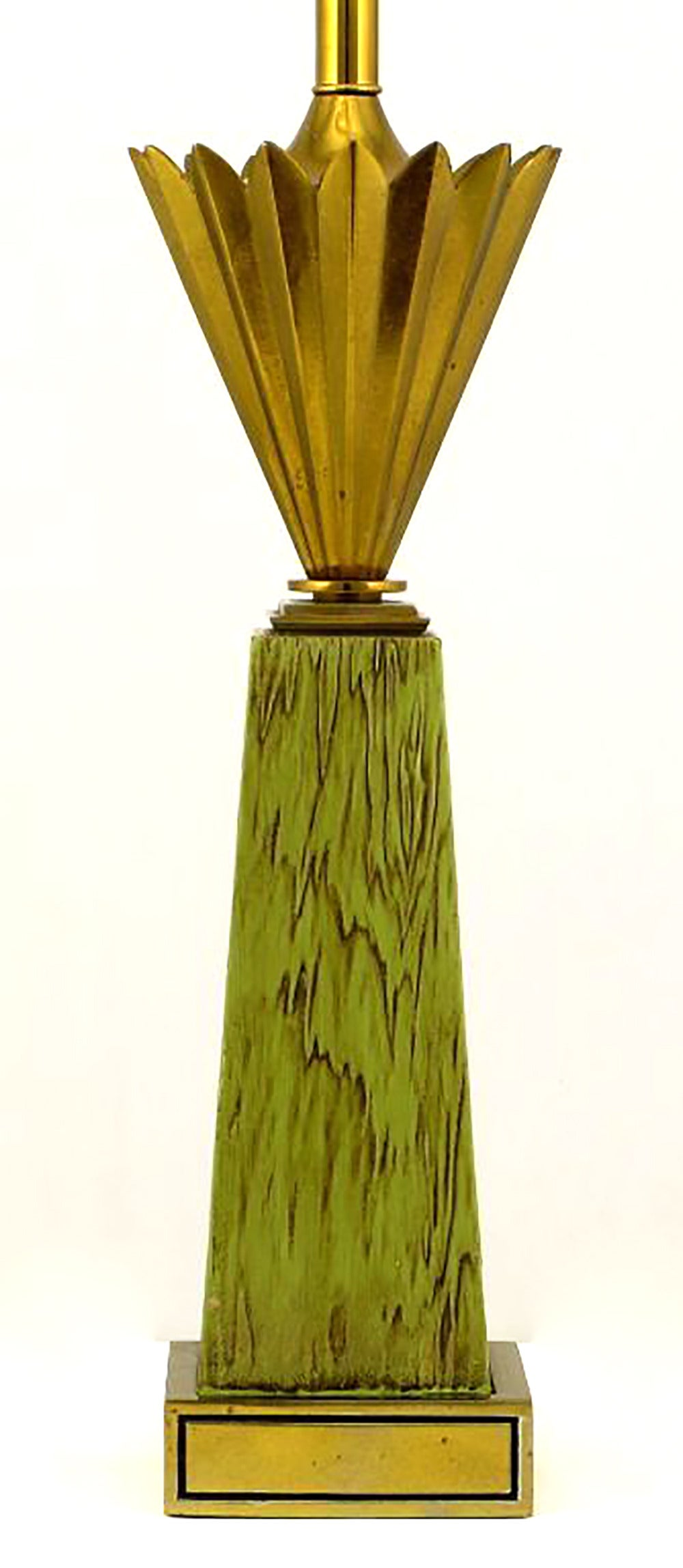 American Pair of Stiffel Brass Crown and Sage Lacquer Obelisk Table Lamps For Sale