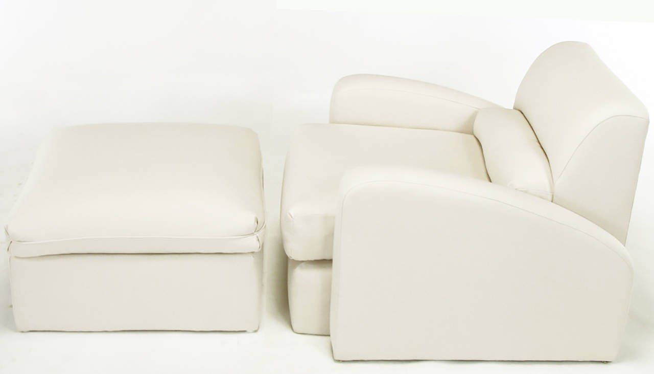 Rarely seen or offered Jay Spectre (1929-1992) Steamer chair with matching ottoman. A Spectre design for Century Furniture that was influenced, as was much of Spectre's work, by the Art Deco designs of the 1920s and 1930s. Newly re-covered in dense