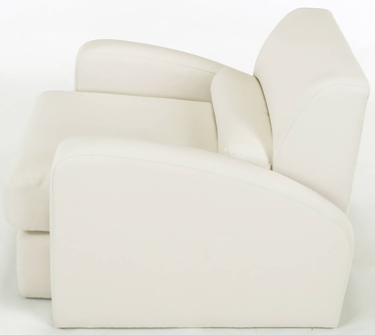 Late 20th Century Jay Spectre Steamer Lounge Chair with Ottoman For Sale