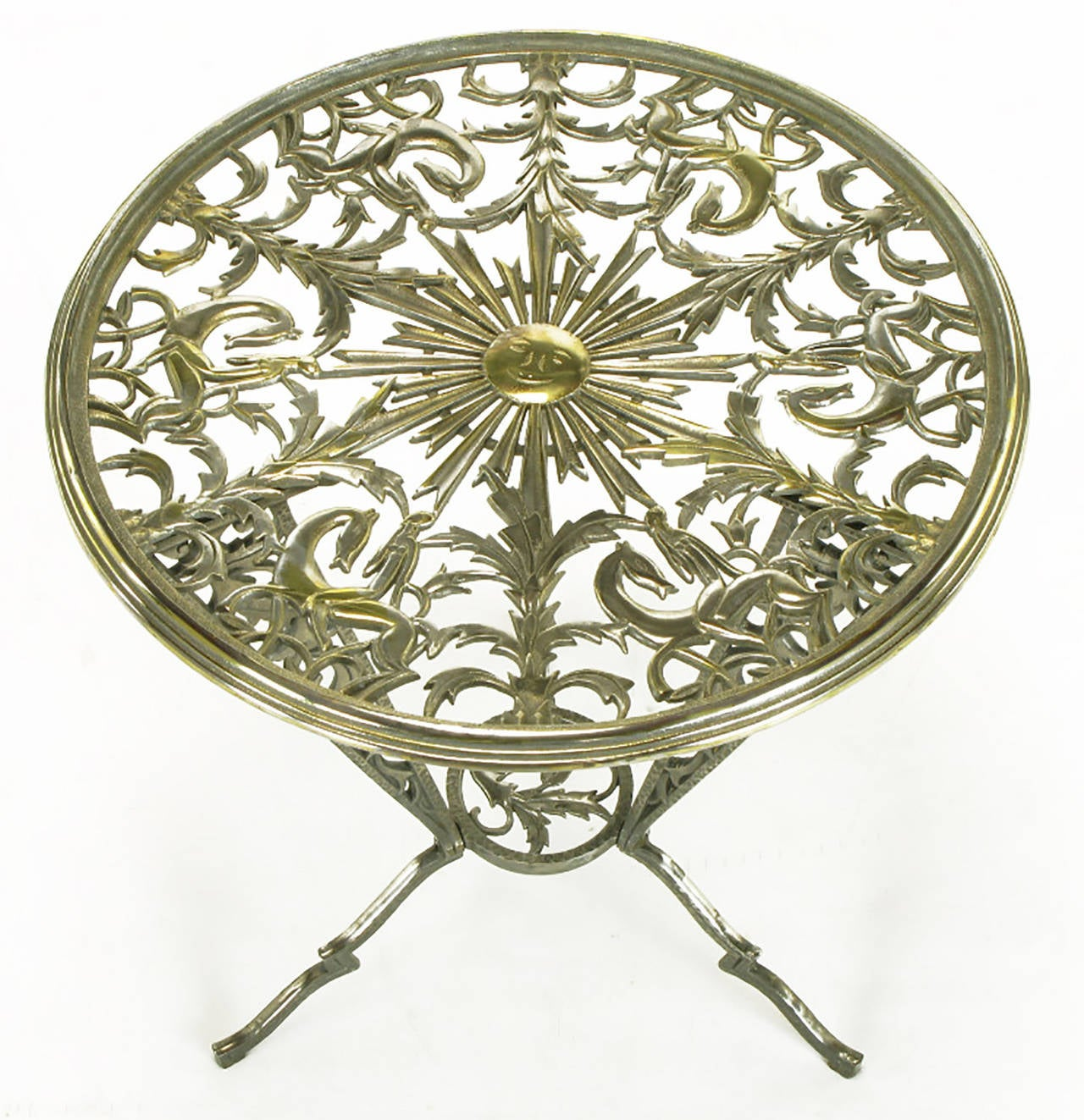 Intricately cast Art Deco tripodal side table by Rena Rosenthal. Tabletop is a beautifully detailed collage of foliage, African women on horses, and a beaming center sun with smiling face. Beveled top edge for a round glass insert. Three legs with
