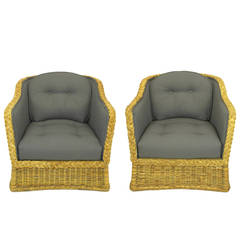 Pair of 1970s Woven Rattan and Gray Button, Tufted Wool Club Chairs
