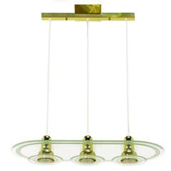 Postmodern Three-Light Brass and Etched Racetrack Oval Glass Chandelier