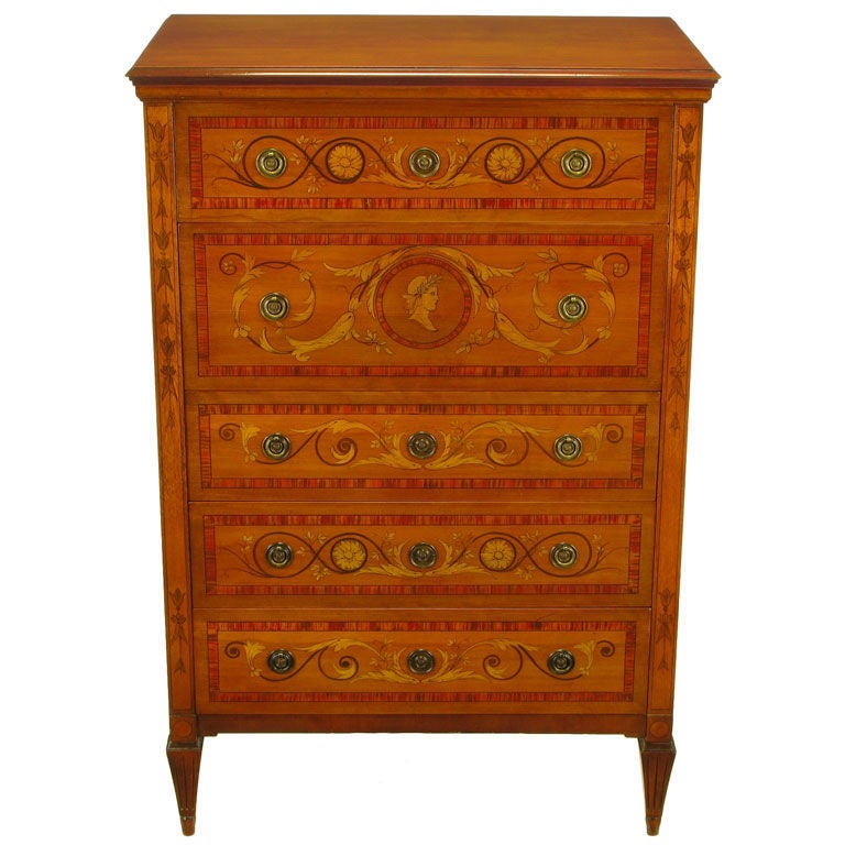 Mahogany Tall Chest With Trompe L Oeil Neoclassical Marquetry