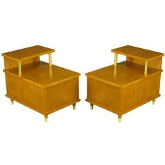 Pair of Two-Tier End Tables with Cedar-Lined Storage