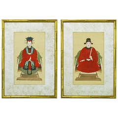 Pair of Chinese Ancestor Portraits in Mirrored Mats and Gilt Frames