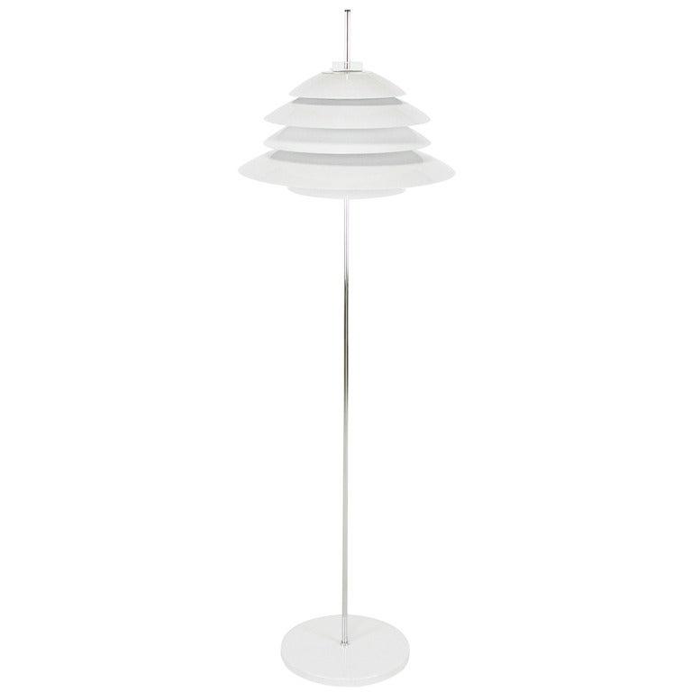 Sonneman Chrome and White Enamel Floor Lamp For Sale