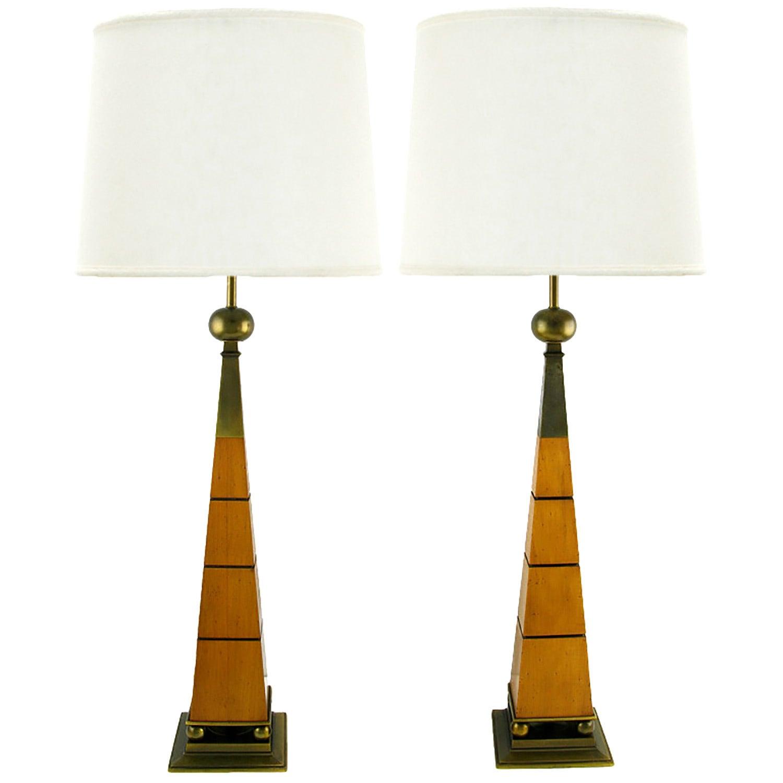 Elegant Pair of Stiffel Walnut and Brass Obelisk Table Lamps
