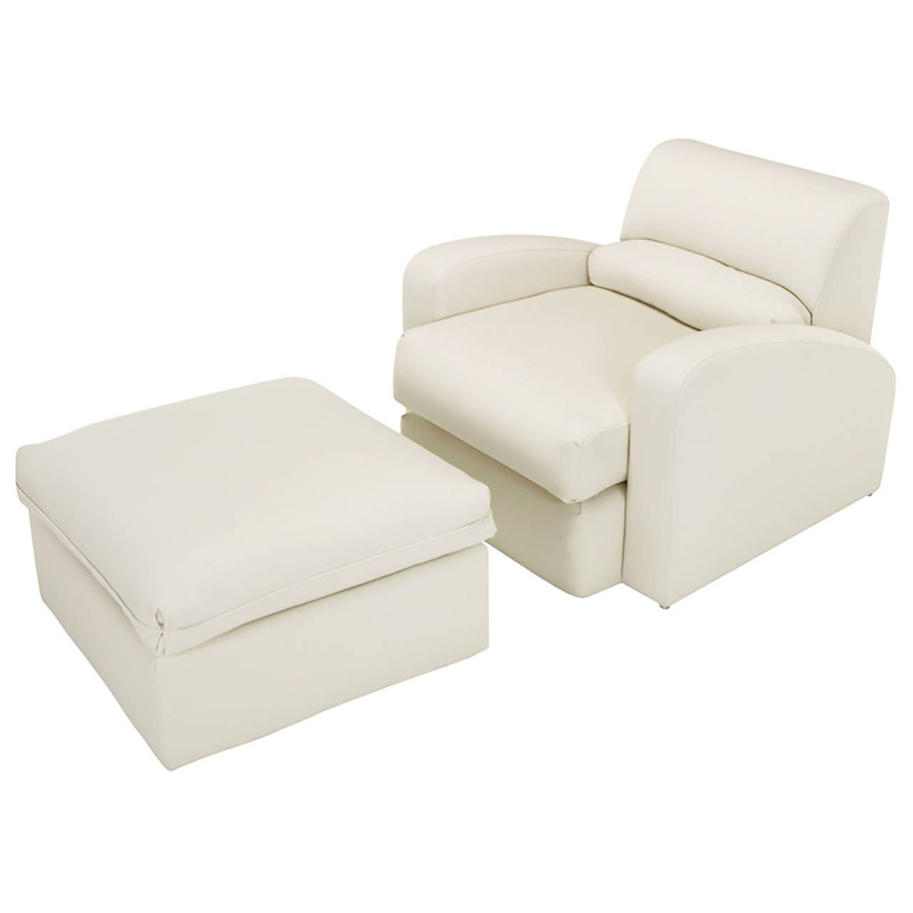 Jay Spectre Steamer Lounge Chair with Ottoman For Sale