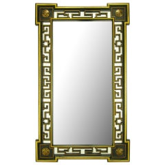 """Asian Style 55"""" Black Lacquer & Parcel Gilt Reticulated Mirror"""