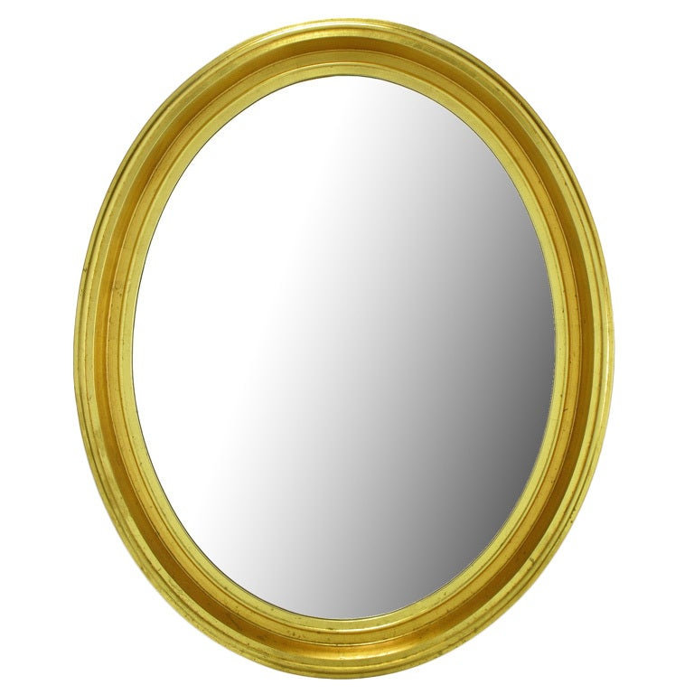 Oval Light and Dark Gilded Wall Mirror