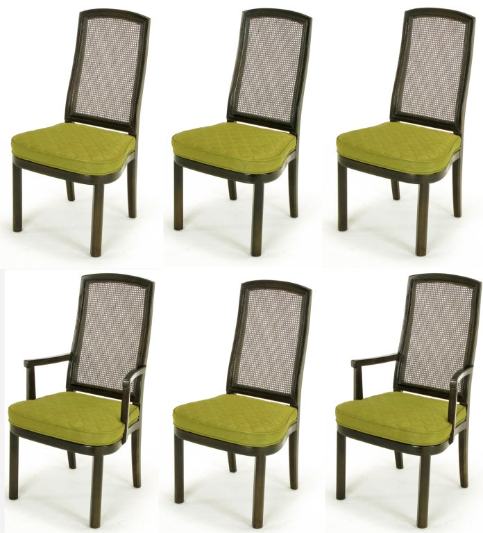six henredon chinoiserie mahogany and cane dining chairs for sale at