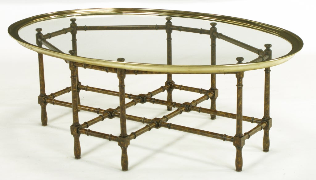 Baker Tortoise Shell Lacquered And Oval Glass Tray Coffee Table At 1stdibs