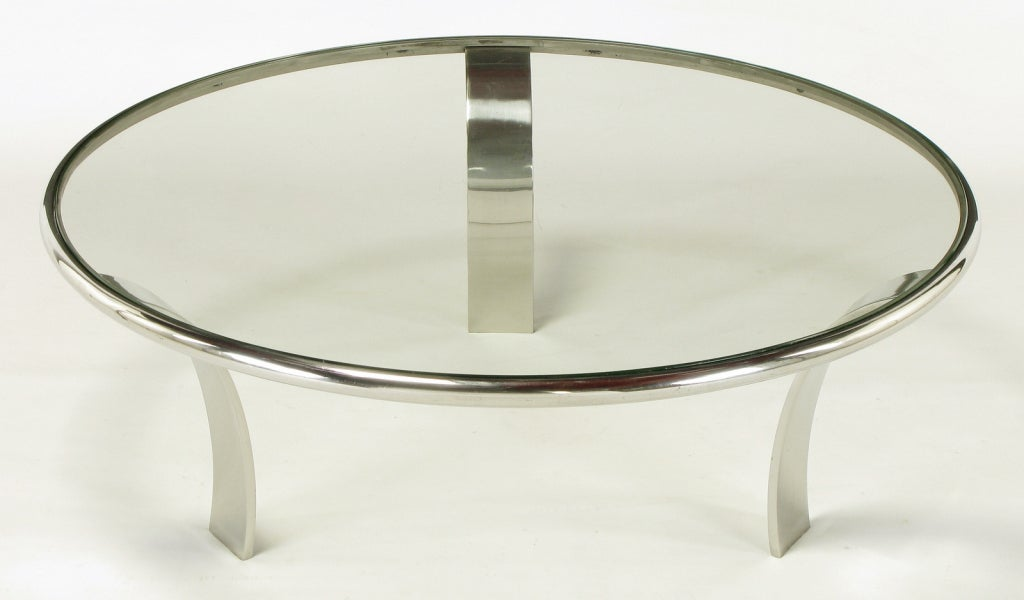 Gardner Leaver For Steelcase Chrome U0026 Glass Coffee Table 2