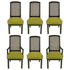 Six Henredon Chinoiserie Mahogany and Cane Dining Chairs For Sale at ...