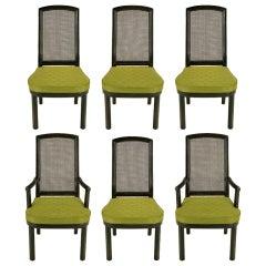 Six Henredon Chinoiserie Mahogany & Cane Dining Chairs
